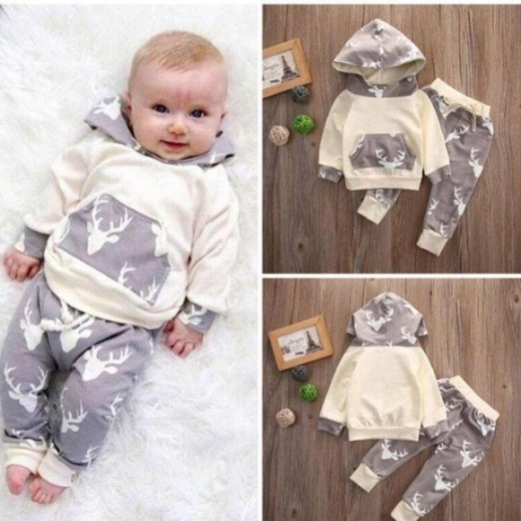 6490a2dd Shirts & Tops | Baby Boys Deer Long Sleeve Hoodie Outfit Set | Poshmark